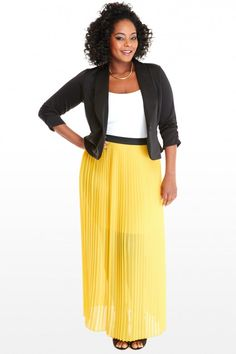 Plus Size Makena Pleated Maxi Skirt | Fashion To Figure #PSFashion #FashionToFigure