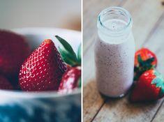 Smoothie de fresas, aguacate, nueces activadas, leche de coco y semillas de amapola. Batido, strawberries, coconut milk