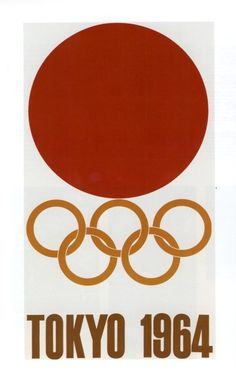 "Olympic Games 1964 poster  In February 1961, the first official poster was published - the first of a series of four.   No. 1   ""The Rising Sun and the Olympic Emblem"""