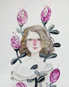Ana 😊 . . . . . . . . . . . #lowcostunicorns #watercolours #watercoloursillustration #portraitillustration #romanianillustrator #illustratorsofinstagram
