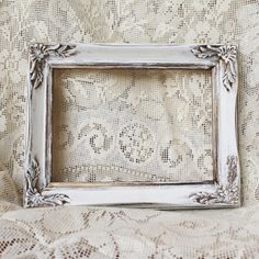 Vintage Ornate Wood Frame, Hand Painted Frame,Gold Metallic, White Frame, Shabby Chic Decor, Cottage Chic Frame, Farmhouse, Wedding Prop