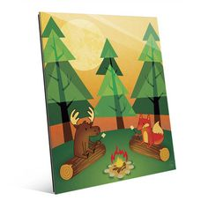 Click Wall Art 'Campfire' Graphic Art on Plaque Size: