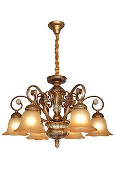 W-LITE Vintage Antique Hanging Crystal Chandelier Lighting With 6 Lamp Holder and Lampshade For Interior Decoration: Meeting room, hotel, living room, dining room, bedroom Lighting