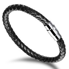 Punk rock style men bracelet Braided round belt Genuine leather man bracelet  2 colors Birthday gifts jewelry wholesale