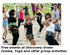 Zumba group meets in Discovery Green