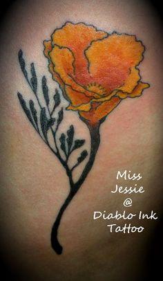 Poppy flower tattoo by Miss Jessie at Diablo Ink Tattoo Pleasant Hill Ca 925-691-6667