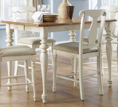 White bisque finish, smooth top, natural pine, and comforting elegance.