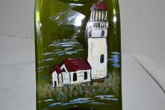 Hand Painted Lighthouse Green Glass Wine Bottle by oldcargirl, $29.00