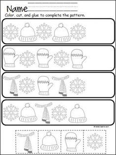 Winter Pattern Practice Cut and Paste – Teacher Resources Winter Pattern Practice Cut and Paste Free winter cut and paste pattern practice. Great for Pre-K and Kindergarten in December, January, and February. Preschool Worksheets, Kindergarten Classroom, Classroom Activities, Patterning Kindergarten, Snow Theme, Winter Theme, Math Patterns, Winter Activities, Preschool Winter