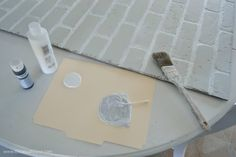 How to whitewash faux brick panels.
