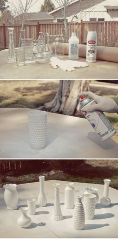 Turn boring clear vases into faux milk glass.