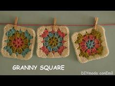 Cuadrado granny square a crochet paso a paso - YouTube