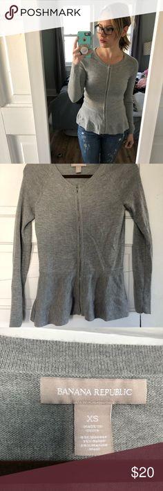 Banana republic grey peplum zip up sweater Banana republic grey peplum zip up sweater Banana Republic Sweaters Cardigans
