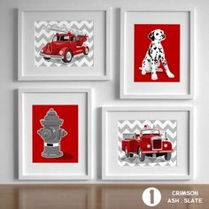 Fireman Nursery Art, Fire Fighter Decor Fire Truck art, vintage fire engine nursery - set of 4 Chevron nursery art for boys Fireman Nursery, Fireman Room, Firefighter Bedroom, Firefighter Baby, Firefighter Birthday, Fire Truck Bedroom, Fire Truck Nursery, Truck Room, Truck Art