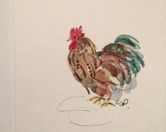 Lone Chicken Watercolor Card / Hand Painted by gardenblooms