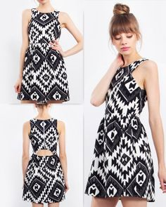 Make a statement in this black and white graphic printed fit and flare dress. Exposed zipper closure on back. Cutout at back. Fully lined. Pair it with a statement necklace and gladiator sandals to complete the look.