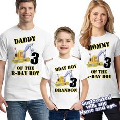 Construction birthday boy shirt, personalized birthday shirt Custom Birthday Shirts, Personalized Birthday Shirts, Birthday Boy Shirts, Digger Birthday Parties, Construction Birthday, Party Shirts, Kid Names, Boys, How To Wear