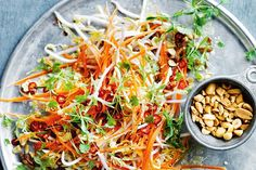Chinese cabbage, carrot and bean sprout slaw with a nice ginger dressing. Features shallots, red chillies, peanuts, and coriander leaves ♦♦ (Photographed by Chris Court) - (Salted) Raw Food Recipes, Vegetable Recipes, Asian Recipes, Great Recipes, Cooking Recipes, Healthy Recipes, Ethnic Recipes, Healthy Salads, Healthy Eating
