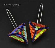 """Color Play"" Geometric Triangle Drop Earrings - Vibrant Brights Barbara Briggs Designs ©2018"