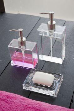 Soap dispensers by Nomess Copenhagen. Design Transparent, Crown Bottle, Soap Dispensers, Pumps, Bedroom Accessories, Bath Vanities, Home Organization, Organizing, Copenhagen