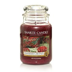 My favorite Yankee Candle ever. Cranberry Chutney smells of fresh cranberries, orange zest, rosemary, raisins, and a touch of golden honey. Yankee Candle Scents, Yankee Candles, Scented Candles, Candle Jars, Cranberry Chutney, Cranberry Bog, Candle Accessories, Fresh Cranberries, Home Scents