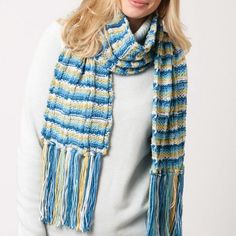 Woman Scrunched Style Scarf with Mosaic Design,Feathered Edge
