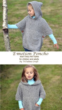 crochet poncho kids E-motion Poncho is cozy oversized garment which is knitted back and forth in combination of Stockinette and Grid stitches. The poncho is designed with positive e Baby Knitting Patterns, Knitting For Kids, Knitting Designs, Knitting Yarn, Knitting Projects, Girls Poncho, E Motion, Crochet Poncho, Children's Poncho