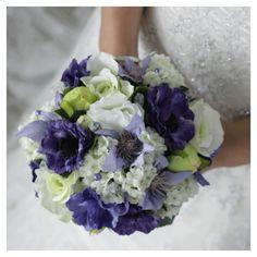 Bruidsboeket paars - wit