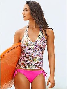 Kaleidoscope Shirred Halter Tankini | Mix and match your bikini bottoms with this tankini. Adjustable tie-halter neck, adjustable back clasp. Elastic strap under bust provides extra support