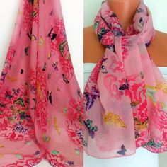 Butterfly Printed Scarf Pink Silk Chiffon Scarf by SuHandmadeStore