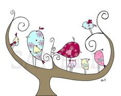 Nursery Art Bird Print, Family Time 8x10 Print