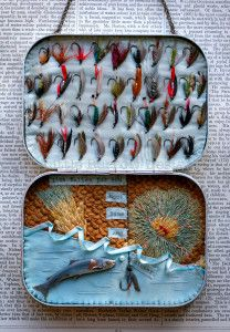 Hook, Line and Sinker, Fishing Storybox, by Little Burrow Designs. Upcycled / recycled /reworked vintage sculpture. Textiles, embroidery, mixed media, assemblage, wirework, tin art, altered tin art, www.littleburrowdesigns.co.uk www.facebook.co.uk/littleburrowdesigns