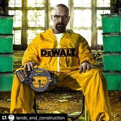 """I'm The One Who Cuts"" #weareDEWALT #blackandyellow #20VMAX #60VMAX #120VMAX #FLEXVOLT #DEWALT #HappyHalloween #heisenberg #BreakingBad #DeWalterWhite #CreditToToolaholic"