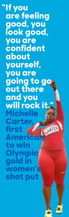 Michelle Carter made Olympic history in the women's shot put, earning Team USA's first gold medal in the event during the Rio games. Olympic Team, Olympic Games, Michelle Carter, Track Quotes, Nike Quotes, Running Training, Running Tips, Stark Sein, Shot Put