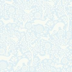 HAS01233 Light Blue Forest Fauna - Anahi - Hide and Seek Wallpaper by Chesapeake