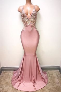 V-neck Pink Evening Dress Straps Beads Appliques Mermaid Sexy Prom Dress