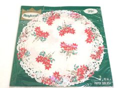 Poinsettia Doilies New in Package Vintage Deadstock Christmas Winter Holiday
