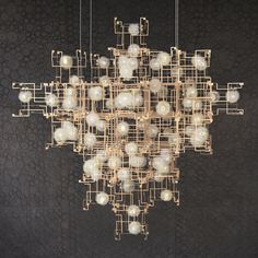 Fragile Future by Lonneke Gordijn and Ralph Nauta, is constructed of real dandelion seeds, LEDs, and Plexiglas. Garage Lighting, Cool Lighting, Interior Lighting, Modern Lighting, Lighting Design, Gallery Lighting, Pendant Chandelier, Chandelier Lighting, Chandeliers