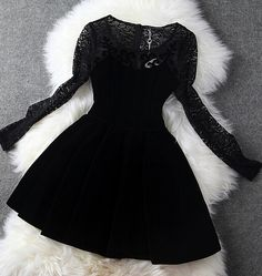 Black lace top velvet dress. I think this is the dress I'm gonna buy for my 8th grade graduation, I am so in love with this dress!