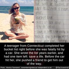 Bucket list, life, and memes: loot rral a teenager from connecticut completed her Stories That Will Make You Cry, Sad Love Stories, Touching Stories, Sweet Stories, Cute Stories, Beautiful Stories, Love Story, Love Stories Teenagers, Weird Facts