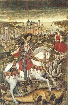 Retaule de Sant Jordi de Pere Niçard. Museu Diocesa de Mallorca. En primer pla Sant Jordi matant el drac, en segon pla la princesa i al fons la Ciutat de Mallorca i la badia Datecirca 1470 (1635×2513) https://es.wikipedia.org/wiki/Pedro_Nisart
