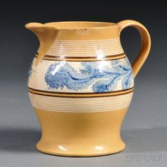 Yellowware Pitcher with Band of Blue Mocha Seaweed Decoration | Sale Number 2669M, Lot Number 440 | Skinner Auctioneers