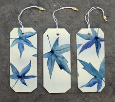 3 Bookmarks Originals watercolors Hojas azules II by SilviaCairol, €12.00