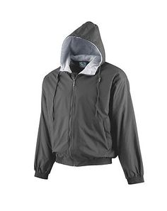 Augusta Sportswear Youth Elastic Cuffs Long Sleeve Fleece Hooded Jacket. 3281 Description   Outer shell of 100% nylon taffeta, Body, sleeves and hood lined with 75% polyester/13% rayon/12% cotton grey heather fleece, Center front zipper with inside storm flap, Hood with drawcord and sliders (youth has elastic in hood instead of drawcord), Set-in sleeves, Reinforced slash front pockets with zippers, Elastic cuffs and bottom band, Water-resistant, Machine-washable, Individually polybagged.