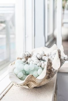 #Beachwood homewares #Resin Clam #glass bead necklace