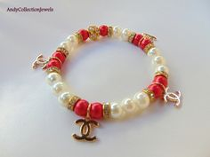 OOK gold CC inspired charms bracelet/glass pearls bracelet/red and white bracelet/gift for her CC bangle/stretchy rhinestones bracelet. by AndyCollectionJewels on Etsy