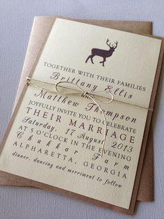 Rustic Woodland Wedding Invitations on Etsy, $2.00