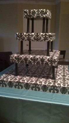 damask wedding cupcake stands   Wedding Cake Ideas / I re-vamped my wedding cupcake stand in damask ...