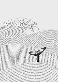 La vague avec baleine typo