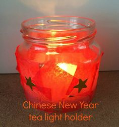 Chinese New Year tea light holder with stars Chinese New Year Crafts For Kids, Chinese New Year Activities, Chinese New Year Decorations, New Years Decorations, New Year's Crafts, Quick Crafts, Crafts To Do, Holiday Crafts, Tea Holder